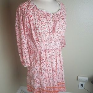 Athleta printed Calico peasant style dress M